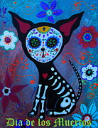 Dog Art Of Chihuahua Posters - El Perrito Day Of The Dead Poster by Pristine Cartera Turkus