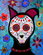 Day Of The Dead Paintings - El Perro Day Of The Dead by Pristine Cartera Turkus