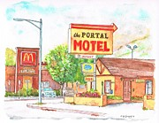 Portal Painting Framed Prints - El-Portal-Motel-in-Lone-Pine-CA Framed Print by Carlos G Groppa
