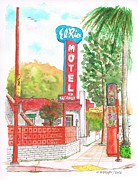 Cards Vintage Painting Prints - El Rio Motel in Glendale - California Print by Carlos G Groppa