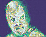 Wwf Digital Art Posters - El Santo The Masked Wrestler 20130218v2 Poster by Wingsdomain Art and Photography