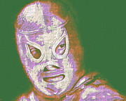 Wwf Digital Art Posters - El Santo The Masked Wrestler 20130218v2m128 Poster by Wingsdomain Art and Photography