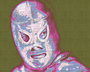 Wwe Framed Prints - El Santo The Masked Wrestler 20130218v2m168 Framed Print by Wingsdomain Art and Photography