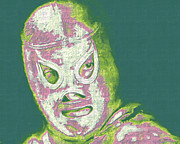Laughing Prints - El Santo The Masked Wrestler 20130218v2m80 Print by Wingsdomain Art and Photography