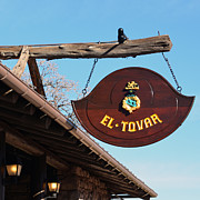 Rustic Photo Framed Prints - El Tovar Historic Hotel Entrance Sign in Grand Canyon Village Square Framed Print by Shawn OBrien