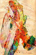 Adults Mixed Media Prints - El Violin  Print by Mark Ashkenazi