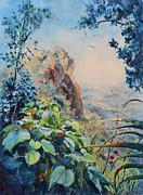 Puerto Rico Painting Metal Prints - El Yunque Rainforest Puerto Rico Metal Print by Estela Robles Galiano