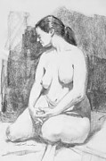 Seated Nude Drawing Prints - Elanore-3 Print by Mark Lunde