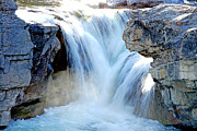 Canoe Waterfall Framed Prints - Elbow Falls in Spring Framed Print by Laura Strain