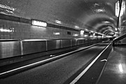 Long Street Framed Prints - Elbtunnel in Hamburg Framed Print by Chevy Fleet