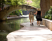 Riverwalk Photo Prints - Elderly Couple on Riverwalk Print by Samuel Kessler