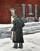 Montreal Neighborhoods Paintings - Elderly Gentleman  in Pointe St. Charles by Reb Frost