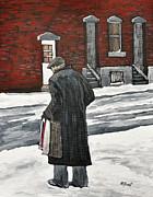 Elderly Gentleman  In Pointe St. Charles Print by Reb Frost