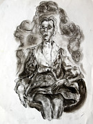 Featured Drawings - Elderly Lady Sitting In Peacock Chair by Dennis Lansdell