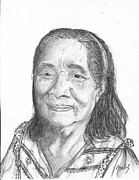Elderly Drawings - Elderly Marshallese 2 by Lew Davis