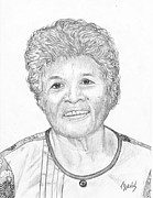 Elderly Drawings - Elderly Marshallese 3 by Lew Davis