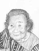 Elderly Drawings - Elderly Marshallese 5 by Lew Davis