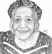 Humans Drawings Prints - Elderly Marshallese Woman Print by Lew Davis