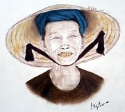 Elderly Vietnamese Woman Wearing A Conical Hat Print by Jim Fitzpatrick