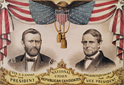 Party Drawings Prints - Electoral Poster for the USA Presidential Election of 1868 Print by American School