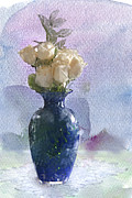 Blue Vase Metal Prints - Electric Blue Metal Print by Betty LaRue