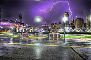 Nba Art Framed Prints - Electric Detroit  Framed Print by Nicholas  Grunas