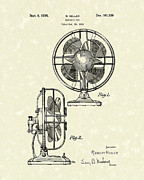 Electric Fan Framed Prints - Electric Fan 1936 Patent Art Framed Print by Prior Art Design