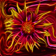 Blanket Prints - Electric Firewheel Flower Artwork Print by Nikki Marie Smith