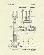 Patent Artwork Drawings Metal Prints - Electric Guitar 1937 Patent Art Metal Print by Prior Art Design