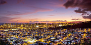 City Scape Metal Prints - Electric Honolulu Metal Print by Sean Davey