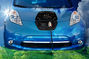 Thrifty Prints - Electric Hybrid Car plugged in Print by Gunter Nezhoda