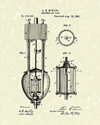 Electric Lamp Prints - Electric Lamp 1893 Patent Art Print by Prior Art Design