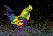 Rooster Photos - Electric Neon Rooster by Nick Gustafson