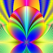 Electric Rainbow Orb Fractal Print by Rose Santuci-Sofranko