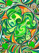 Kevin J Cooper Artwork Posters - Electric Shamrock Poster by Kevin J Cooper Artwork