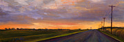 Country Road Painting Posters - Electric Sunset 2 Poster by Athena  Mantle