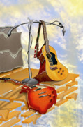 Acoustic Guitar Digital Art Metal Prints - Electrical Meltdown Metal Print by Mike McGlothlen