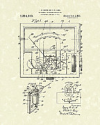 Antique Drawings Metal Prints - Electrical Meter 1919 Patent Art Metal Print by Prior Art Design