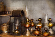 Photography Of Lamps Framed Prints - Electrician - A collection of oil lanterns  Framed Print by Mike Savad