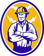 Lightning Bolt Posters - Electrician Construction Worker Lightning Bolt Poster by Aloysius Patrimonio