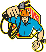 Lightning Bolt Posters - Electrician Construction Worker Retro Poster by Aloysius Patrimonio