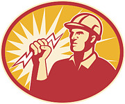 Lightning Bolt Posters - Electrician Power Line Worker Lightning Bolt Poster by Aloysius Patrimonio