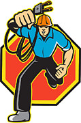 Tradesman Framed Prints - Electrician Worker Running Electrical Plug Framed Print by Aloysius Patrimonio