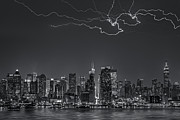 Lightning Prints - Electrifying New York City BW Print by Susan Candelario