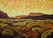 Abstracted Landscape Paintings - Electromagnetic sunset by Dale Beckman