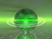 Unreal Digital Art - Electronic Green Saturn by Phil Perkins