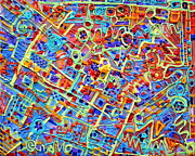 Extruded Paint Reliefs Prints - Electronics for cats Print by Regina Valluzzi