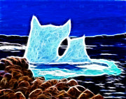 Beached Digital Art - Electrostatic Icebergs Bid a Fond Farewell to Greenland by Barbara Griffin