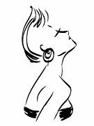 Strapless Dress Drawings Metal Prints - Elegance Metal Print by Carmen Grisolia