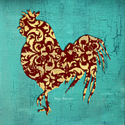 Rooster Kitchen Art Prints - Elegant Decorative Kitchen Art Damask Rooster Pattern Print by Megan Duncanson